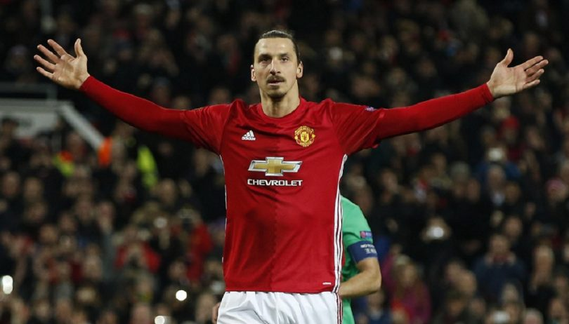 Manchester United's Zlatan Ibrahimovic celebrates scoring their third goal to complete his hat trick