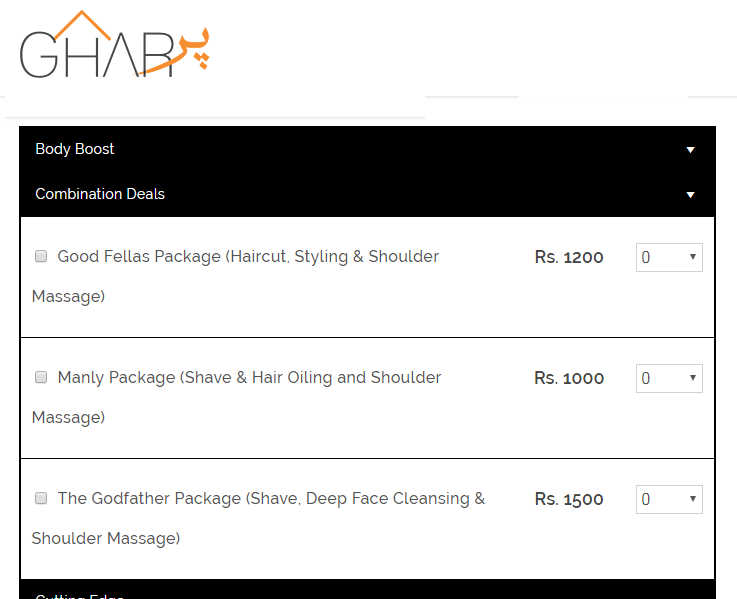 ghar par male grooming rates