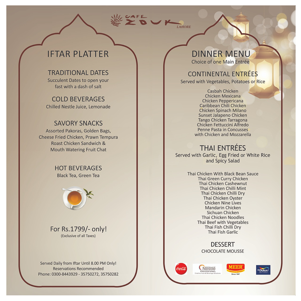 Cafe Zouk Ramadan deals